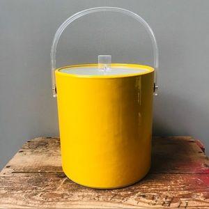 Vintage Ice Bucket Yellow & Clear Plastic